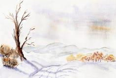 Δέντρο στο χειμερινό δρόμο Στοκ Φωτογραφία