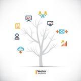 Δέντρο τεχνολογίας, επιχείρηση και διακλαδιμένος πορείες διανυσματική απεικόνιση
