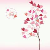 Δέντρο της αγάπης με το ύφος καρδιών διανυσματική απεικόνιση