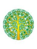 Δέντρο της ζωής σε ένα κλίμα του πράσινου mandala ΛΟΓΟΤΥΠΟ πνευματικό σύμβολο ελεύθερη απεικόνιση δικαιώματος
