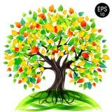 Δέντρο της ζωής Δέντρο Eco Διανυσματική ζωηρόχρωμη απεικόνιση αποθεμάτων Στοκ Εικόνες