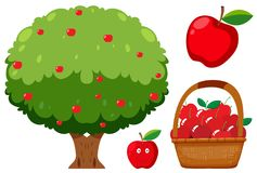 Δέντρο της Apple και Apple στο άσπρο υπόβαθρο Ελεύθερη απεικόνιση δικαιώματος