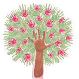 Δέντρο της Apple φιαγμένο από χέρια των παιδιών Στοκ φωτογραφία με δικαίωμα ελεύθερης χρήσης