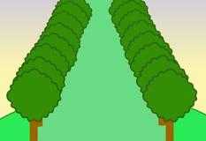 Δέντρο τοπίων φύσης κινούμενων σχεδίων υποβάθρου Στοκ φωτογραφία με δικαίωμα ελεύθερης χρήσης