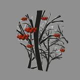 Δέντρο του Rowan και σκιαγραφία του κεφαλιού Στοκ Φωτογραφίες