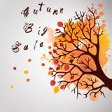 Δέντρο φθινοπώρου με τα μειωμένα φύλλα στο άσπρο υπόβαθρο Κομψό σχέδιο με τα διαστημικά και ιδανικά ισορροπημένα χρώματα κειμένων Στοκ Εικόνες