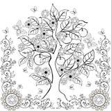Δέντρο χεριών σχεδίων με τα λουλούδια και τα μήλα Άνοιξη Ενήλικα χρωματίζοντας βιβλία διανυσματική απεικόνιση