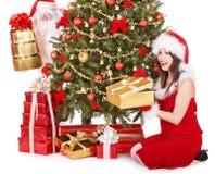 δέντρο santa κοριτσιών δώρων Claus Χ&rho στοκ φωτογραφία με δικαίωμα ελεύθερης χρήσης
