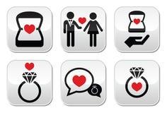 Δέσμευση, δαχτυλίδι διαμαντιών στα κουμπιά παραθύρων καθορισμένα Στοκ φωτογραφία με δικαίωμα ελεύθερης χρήσης