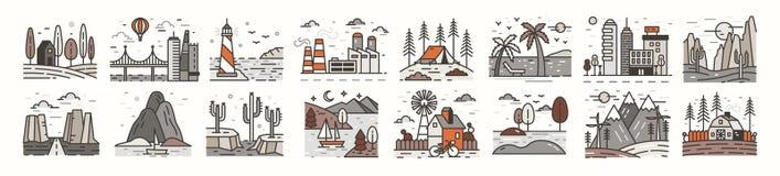 Δέσμη των εικονιδίων ή των συμβόλων τοπίων Σύνολο όμορφων φυσικών τοπίων - παραλία, δασικό στρατόπεδο, επαρχία, έρημος, πόλη απεικόνιση αποθεμάτων