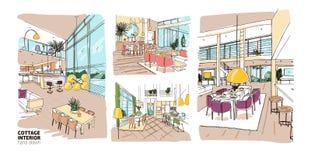 Δέσμη των ζωηρόχρωμων σχεδίων του συνόλου εσωτερικού θερινών εξοχικών σπιτιών των μοντέρνων και comfy επίπλων Σύνολο συρμένου χέρ Στοκ εικόνα με δικαίωμα ελεύθερης χρήσης