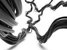 Δέσμη των ηλεκτρικών καλωδίων στην προοπτική Στοκ Εικόνα