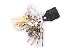 Δέσμη των κλειδιών και του δέρματος keychain Στοκ Εικόνες