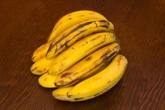Δέσμη των μπανανών καναρινιών σε ένα ξύλινο υπόβαθρο Στοκ Εικόνες