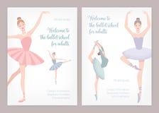 Δέσμη των προτύπων αφισών ή ιπτάμενων για το σχολείο μπαλέτου ή στούντιο για τους ενηλίκους με τα κομψά ballerinas χορού που φορο απεικόνιση αποθεμάτων