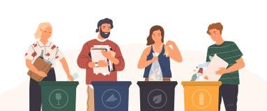 Δέσμη των χαριτωμένων αστείων ανθρώπων που βάζουν τα σκουπίδια στα δοχεία, τα dumpsters ή τα εμπορευματοκιβώτια απορριμμάτων Σύνο διανυσματική απεικόνιση