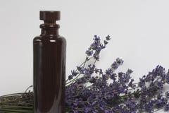 Δέσμη lavender με ένα μπουκάλι του πετρελαίου Στοκ φωτογραφίες με δικαίωμα ελεύθερης χρήσης
