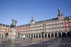 Δήμαρχος Μαδρίτη - Plaza στο φως πρωινού Στοκ Φωτογραφία