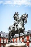 Δήμαρχος της Μαδρίτης Plaza με το άγαλμα του βασιλιά Philips ΙΙΙ Στοκ φωτογραφίες με δικαίωμα ελεύθερης χρήσης