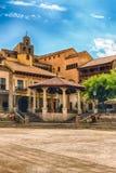 Δήμαρχος Plaza, κύριο τετράγωνο σε Poble Espanyol, Βαρκελώνη, Καταλωνία Στοκ φωτογραφίες με δικαίωμα ελεύθερης χρήσης