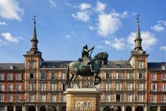 Δήμαρχος Plaza στην πόλη της Μαδρίτης στην Ισπανία Στοκ φωτογραφία με δικαίωμα ελεύθερης χρήσης