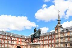 Δήμαρχος Plaza στην πόλη της Μαδρίτης Στοκ Εικόνα