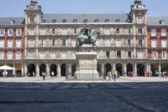 Δήμαρχος Plaza στη Μαδρίτη σε μια όμορφη θερινή ημέρα Στοκ εικόνα με δικαίωμα ελεύθερης χρήσης