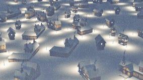 Δήμος Dreamlike στην εναέρια άποψη νύχτας χιονοπτώσεων ελεύθερη απεικόνιση δικαιώματος
