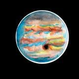 Δίας ο πλανήτης των watercolors στο μαύρο ουρανό απεικόνιση αποθεμάτων