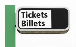 Δίγλωσσο υπερυψωμένο σημάδι εισιτηρίων Στοκ Φωτογραφία