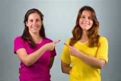 Δίδυμες αδελφές που δείχνουν μεταξύ τους στοκ εικόνα