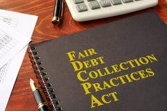 Δίκαιος νόμος πρακτικών συλλογής χρέους FDCPA Στοκ Εικόνα