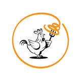 Δίκρανο λαβής κοτόπουλου με τα λαστιχωτά μακαρόνια Στοκ Εικόνα