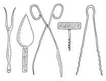 Δίκρανο για spatula ρεγγών ή κέικ, τις λαβίδες σπαραγγιού, τις λαβίδες ανοιχτήρι και βιομηχανιών ζαχαρωδών προϊόντων Εργαλεία αρχ ελεύθερη απεικόνιση δικαιώματος