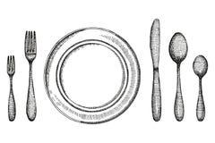 Δίκρανο και κουτάλι μαχαιριών πιάτων και ένα σκίτσο πιάτων καθορισμένη εκλεκτής ποιότητας διανυσματική απεικόνιση μαχαιροπήρουνων διανυσματική απεικόνιση