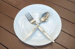 Δίκρανο και κουτάλι πιάτων Στοκ Εικόνα