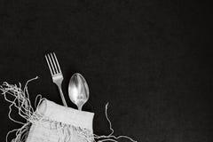 Δίκρανο και κουτάλι bw Στοκ εικόνα με δικαίωμα ελεύθερης χρήσης