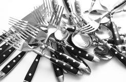 Δίκρανο και μαχαίρι κουταλιών Στοκ Φωτογραφίες