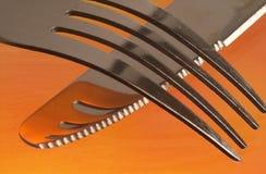 Δίκρανο και μαχαίρι Στοκ Φωτογραφίες