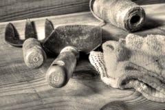 Δίκρανο και trowel εργαλεία κήπων με τη σειρά και τα γάντια στοκ εικόνες με δικαίωμα ελεύθερης χρήσης