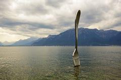 Δίκρανο στη λίμνη σε Vevey Στοκ Φωτογραφίες