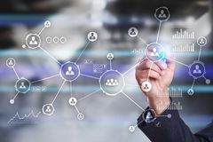 Δίκτυο ανθρώπων Οργανωτική δομή Ωρ. συνομιλίες έννοιας επικοινωνίας δεσμών που έχουν τους ανθρώπους μέσων κοινωνικούς μπλε έννοια Στοκ φωτογραφίες με δικαίωμα ελεύθερης χρήσης