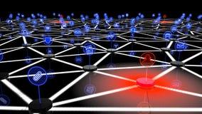 Δίκτυο Διαδικτύου των πραγμάτων που επιτίθενται από στους πολλαπλάσιους χάκερ Στοκ φωτογραφία με δικαίωμα ελεύθερης χρήσης