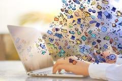 Δίκτυο και app έννοια Στοκ Εικόνες