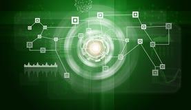 Δίκτυο με τα εικονίδια και τους κύκλους πυράκτωσης Στοκ εικόνα με δικαίωμα ελεύθερης χρήσης