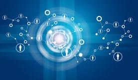 Δίκτυο με τα εικονίδια και τους κύκλους πυράκτωσης Στοκ φωτογραφία με δικαίωμα ελεύθερης χρήσης