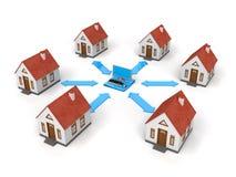 Δίκτυο σπιτιών με το lap-top Στοκ Εικόνα