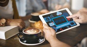 Δίκτυο σύνδεσης τεχνολογίας WWW που μοιράζεται την έννοια Στοκ Φωτογραφία