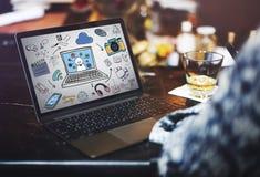 Δίκτυο σύνδεσης τεχνολογίας WWW που μοιράζεται την έννοια Στοκ φωτογραφία με δικαίωμα ελεύθερης χρήσης