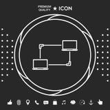 Δίκτυο υπολογιστών, ανταλλαγή στοιχείων, εικονίδιο έννοιας μεταφοράς απεικόνιση αποθεμάτων